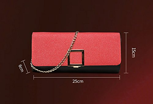 Banquet Hand Bag Leather Large Package Black Folder Capacity Dinner Red Trend Fashion Bag Color Female Hand TvqxFUfU
