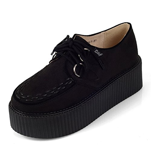 (RoseG Women's Handmade Suede Lace up Flat Platform Creepers Shoe Black Size10)