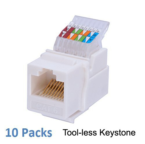IDC RJ45 CAT6/CAT5e Tool-less No Punch Down Tool Required Gold Plated Keystone Jack, 10 GB Ethernet Cable Patch Panel Wall Plate w Standard Keystone Port, with Color Coded Wiring Schema Snap In (Cat5e Keystone Jack Wiring)