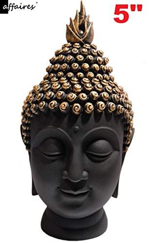 Buddha Head Figurine - Affaires Buddha Head Figurine Polyresin (12.5 cm X 8 cm) Black & Gold G-520