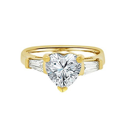 14k Yellow Gold, Lady Engagement Ring Heart Shape Created CZ Crystals 3.0ct Size 8 by GiveMeGold
