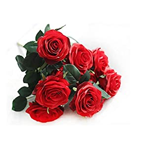 DALAMODA Candy Red 2 Bundles (with Total 20 Heads) Artificial Silk Flower Rose Bouquet (Candy Red)