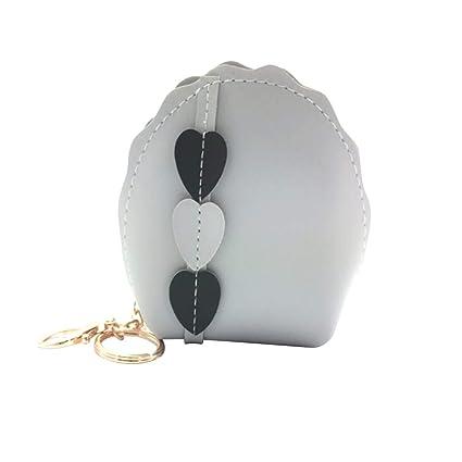 Daliuing Monedero de Cuero Artesanal Billetera Mujer Pequeña Mini Concha Monedero Monedas Bolsa de Cambio Carteras