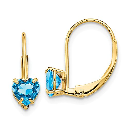 (14k Yellow Gold 5mm Heart Blue Topaz Leverback Earrings Lever Back Love Drop Dangle Gemstone Prong Fine Jewelry Gifts For Women For Her)
