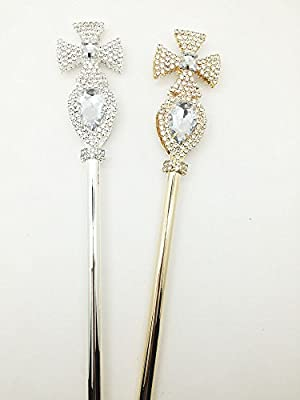 Edith qi Magic Wands Tulip Lotus Scepter Rhinestone for Wedding Costume Party
