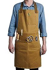 Case4Life - Gewaxt canvas tuingereedschap schort - verstelbare taille en hals - multifunctioneel voor tuinders, doe-het-zelf, houtwerk, timmerlieden, kunst - uniseks, zwaar en waterbestendig