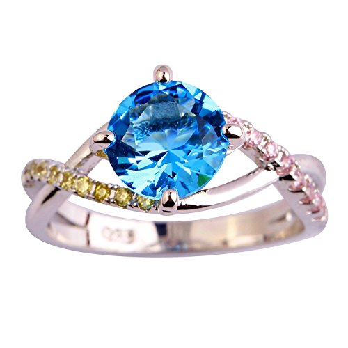 Psiroy 925 Sterling Silver Grace Womens Band Charms Gorgeous 8mm8mm Round Cut Cz Created Blue Topaz Filled Ring