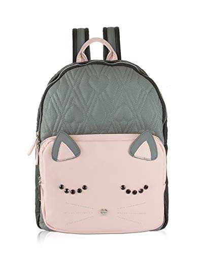 Betsey Johnson Large Quilted Kitch Sleeping Cat Face Backpack Tote Bag – Grey Multi
