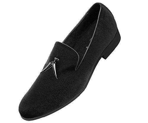 Amali Mens Original Original Loafer Slip-On Dress Velvet Shoe with Shiny Sterling Metallic Horn Shaped Tassel, Smoking Slipper, Style Heath