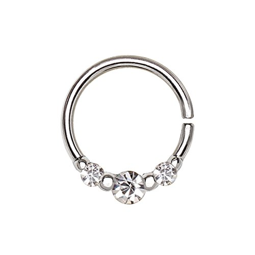 Amelia Fashion 16 Gauge CZ Trio Nose Hoop/Cartilage Ring Annealed Seamless 316L Surgical Steel (Steel & Clear CZ)