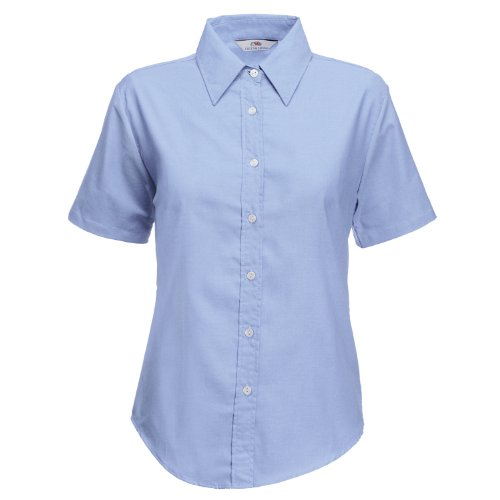 Fruit of the Loom Lady-fit Oxford short sleeve shirt Oxford Blue 2XL