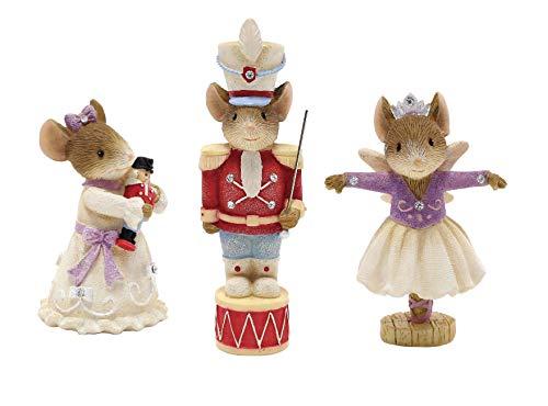 Enesco Heart of Christmas Miniature Nutcracker Mice Figurines Prince, Clara, Sugar Plum Fairy from Enesco