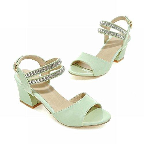 Carolbar Womens Buckle Rhinestones Elegance Sweet Fashion Peep Toe Dikke Chunky Mid Hak Jurk Sandalen Mintgroen