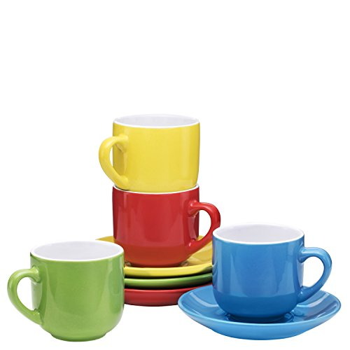 - Espresso Cups with Saucers by Bruntmor - 4 ounce - Multi-Color - Set of 4