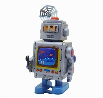 Aerospace Repairer Robot, Metal Robot Winds Up, New Tin Toy Collection, 5 Tall by Classic Tin Toy