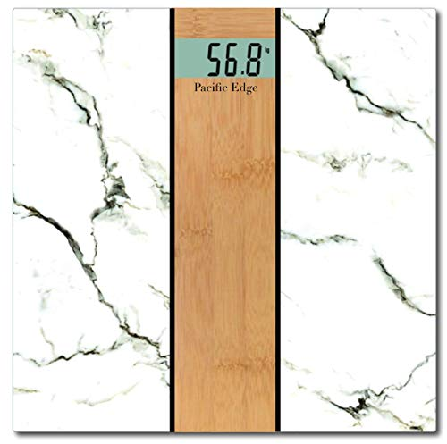 Stylish and Luxurious White Carrara Marble x Natural Oak Wood Bathroom Scale ()