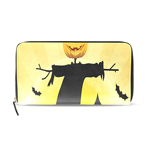 Halloween Scared Moon Scarecrow Long Passport Clutch Purses