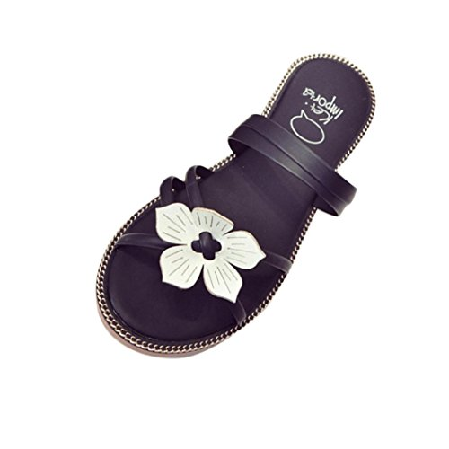 Transer® Damen Slipper Weiß Blume Microfiber Leder Heißes Rosa Grün Schwarz Rosa Hausschuhe (Bitte achten Sie auf die Größentabelle. Bitte eine Nummer größer bestellen. Vielen Dank!) Schwarz