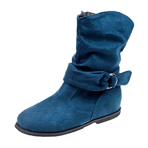 HLHN Women Mid-Calf Ankle Boots Zip Buckle Leather Flat Heel Martin Shoes Vintage Casual Classical Winter Blue