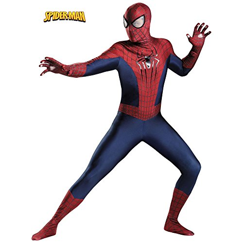 The Amazing Spider Man 2 Halloween Costume (Disguise Men's Marvel The Amazing Movie 2 Spider-Man Theatrical Adult Costume, Blue/Red/Black,)