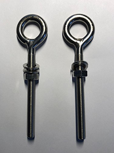 2 Pieces Stainless Steel 316 M8 Eye Bolt 8mm x 80mm (5/16