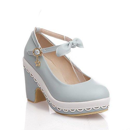 Amoonyfashion Donna Pu Fibbia Solida Rotonda Punta Chiusa Tacchi Alti-scarpe Con Ciondoli Blu