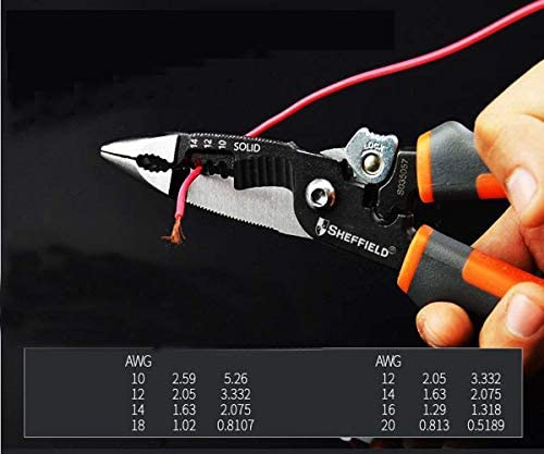 SSY-YU ホーム屋外マルチファンクションストリップケーブルはさみスエードツールセットに適しプライヤー、8インチの電気技師ラジオペンチレッツは、私たちはより強力なこと(色:ブラック、サイズ:20 * 10 * 10センチ) ペンチ 切断工具