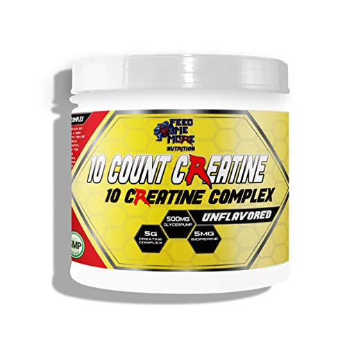 10 Count Creatine 10 Creatine Complex with GlycerPump and Bioperine Unflavored Calorie Free Keto Safe Fasting Safe 30 Servings by Feed Me More Nutrition ()