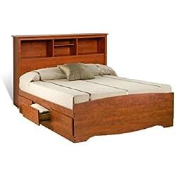 Prepac Monterey Cherry Queen Bookcase Platform Storage Bed