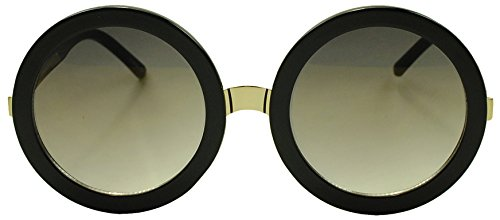 Womens Oversized Black and Gold XL Round Bronze Mirror Lens Sunglasses