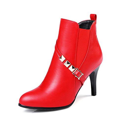 AgooLar Damen Hoher Absatz Weiches Material Niedrig-Spitze Rein Stiefel, Rot, 34
