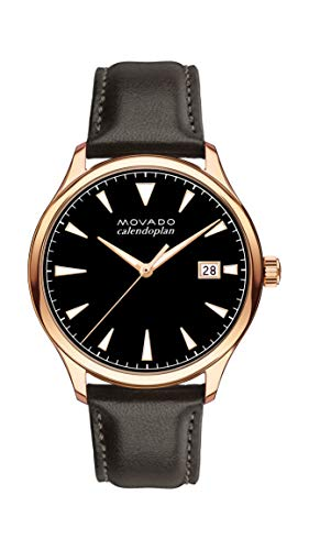 Movado Men's Heritage Rose Gold Watch with Printed Index Dial, Black/Brown/Pink/Gold (Model (Movado Black Clock)