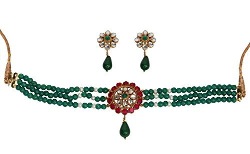 - Touchstone Indian Bollywood Faux Ruby Emerald Pearls Kundan Look Jewelry Choker Set in Antique Gold Tone