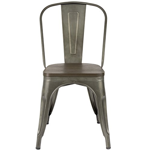 Furmax Metal Dining Chair with Wood Seat,Indoor-Outdoor Use Stackable Chic Dining Bistro Cafe Side Metal Chairs Set of 4 (Gun) by Furmax (Image #3)