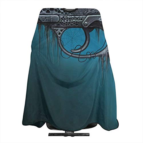 VIVIAN RICE Professional Salon Hair Cut Cape,Apron with Adjustable Snap Closure,Hairdressers and Barbers Pistol Artwork,Easy Clean,Lightweight
