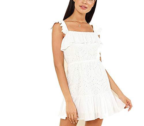 TOGIC Stylish White Casual Backless Eyelet Embroidery Ruffle Hem Straps Waist Short Dress Women Dresses,X-Small,White