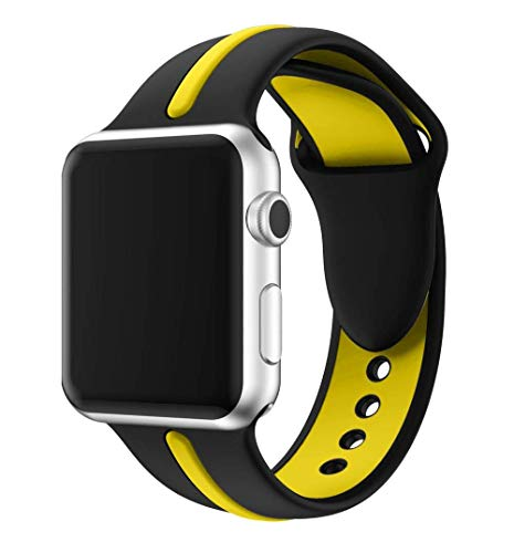 EloBeth iWatch Band 44mm 42mm Soft Silicone Sport Replacement Wrist Strap Stripe Color Splicing Compatible Apple Watch Series 4/3/2/1 Nike Sport Edition iWatch(Black/Yellow, 44/42mm)