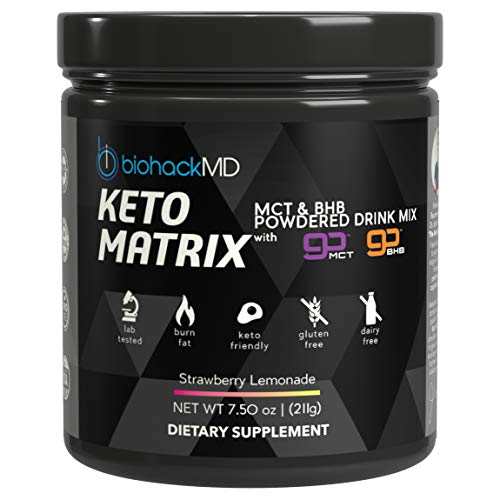 Keto Matrix Keto Supplement - Exogenous Ketones BHB Salts + MCT Oil Powder - Beta Hydroxybutyrate + C8 & C10 Medium Chain Triglycerides - Formulated by Dr. John Limansky MD, The Keto Dr™