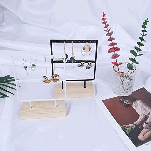 Dasing 24 Trous Boucles doreilles en Bois Bijoux Organisateur Pr/éSentoir Pr/éSentoir en M/éTal Porte-Bijoux Boucles doreilles Collier Rack Affichage 2 Niveaux Blanc