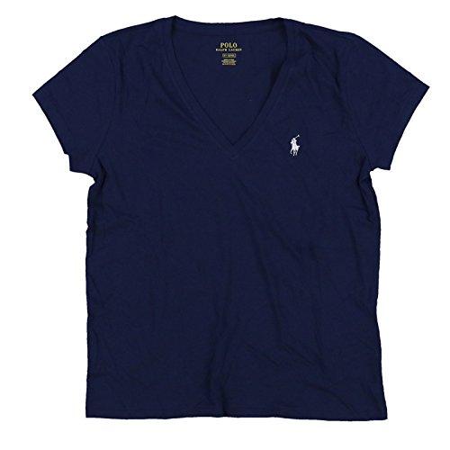 Polo Ralph Lauren Womens V-Neck Jersey T-Shirt (X-Small, PRL Navy)
