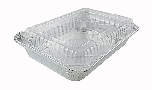 1 1/2 lb. Oblong Shallow Aluminum Take-Out Pan w/Dome Lid (50)