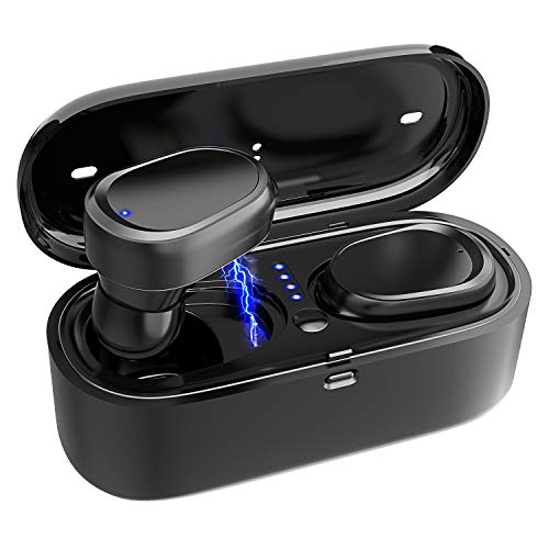 True Wireless Earbuds Bluetooth 5.0, Wireless Earbuds Bluetooth with Charging Case, One-Step Pairing, Bluetooth Earbuds Wireless Headphones Stereo in-Ear Earpieces for Sports Running.