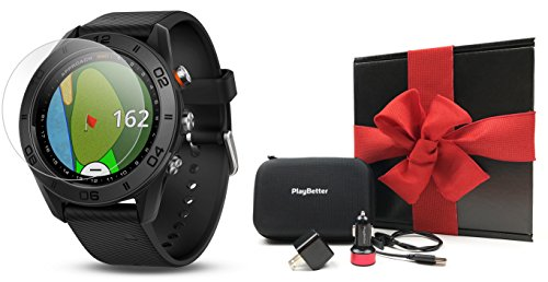 Garmin Approach S60 (Black) Gift Box Bundle | Includes Glass Screen Protector, PlayBetter USB Car/Wall Charging Adapters & Protective Hard Case | Golf GPS Watch | Black Gift Box, Red Bow