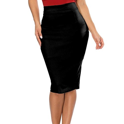 FEITONG Womens Elastic High Waisted Pencil Skirt Stretch Bodycon Below Knee ()