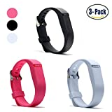 Hotodeal Replacement Bands for Fitbit Flex, Fashion Adjustable Silicone Sport Wristband with Chrome Clasp and Fastener Buckle, Prevent Tracker Falling Off, Comfortable, Pack of 3 (Black+Pink+White)