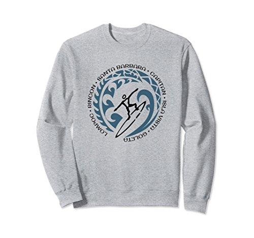 Unisex Sweatshirt For Santa Barbara Surfing Lovers 2XL Heather Grey ()
