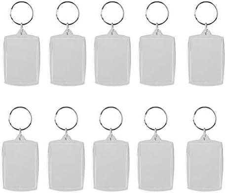 Oulii Schlüsselanhänger, blanko, rechteckig, DIY-Geschenk, 4 x 5,6 cm, 10 Stück