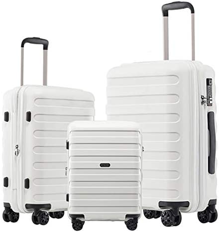 GinzaTravel Anti-scratch never breakage Widened and thickened large capacity Luggage 3 Piece Sets 8-wheel Spinner White Expandable Suitcase sets all 20 24 28