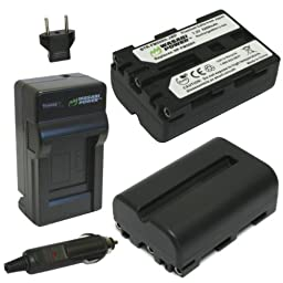 Wasabi Power Battery (2-Pack) and Charger for Sony NP-FM500H and Sony CLM-V55, Alpha DSLR SLT-A57, A58, A65, A65V, A77, A77V, A77 II, A77M2, A99, A100, A200, A300, A350, A450, A500, A550, A560, A580, A700, A850, A900