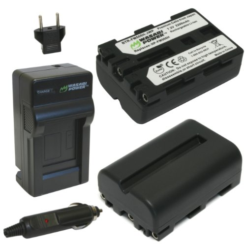 (Wasabi Power Battery (2-Pack) and Charger for Sony NP-FM500H and Sony CLM-V55, Alpha DSLR SLT-A57, A58, A65, A65V, A77, A77V, A77 II, A77M2, A99, A100, A200, A300, A350, A450, A500, A550, A560, A580, A700, A850, A900)
